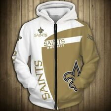 New Orleans Saints Zip Up Hoodie Zip Hooded Pullover S-5XL Football Team Fans