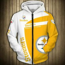 Pittsburgh Steelers Zip Up Hoodie Hooded Pullover S-5XL Football Team Fans NEW