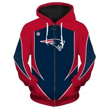 New England Patriots Zip Up Hoodie Hooded Pullover S-5XL Football Team Fans