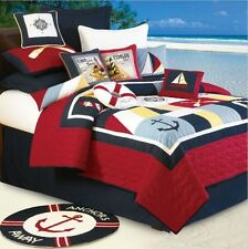 SAIL AWAY 7pc Full or Queen QUILT SET : NAUTICAL SAILBOAT LIGHTHOUSE COMFORTER