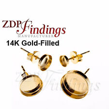 Earring Jewelry Findings- 5mm bezel on Post Gold-Filled