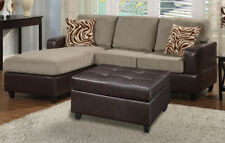 3-Pcs Sectional Sofa Sofa Set W Ottoman 2 colors Living Room Furniture Sofa Set