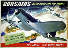 Corsairs Navy Promotional WWII 1944 Poster