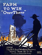 Vintage POSTER.Stylish Graphics.Farm to Win the War.Room Wall Decor1061