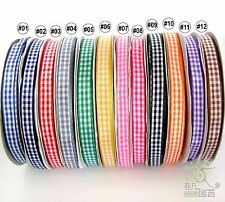 """3/8"""" 9mm Mixed Gingham Ribbon Korker Hairbow 12 Colors High Quality Craft DIY"""