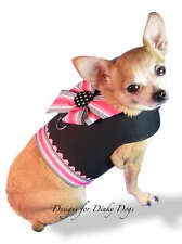 SM DOG CLOTHES HARNESS BIG BOW YORKIE XS, SMALL OR MED