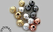 ROUND SPACER BEADS 5mm BRASS BASE METAL PLATED SEAMLESS