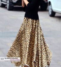 Leopard Prints Full Circle Satin Skirt Long Skirt XS ~ 3XL GF0687T