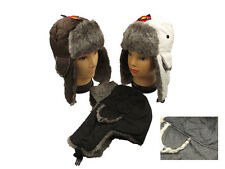 New Adults Quilted Black Trapper Hat with Faux Fur Trim. One Size, Winter ski