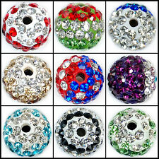 10mm Color Round Ball Pave Crystal Rhinestone Spacer Beads Jewelry DIY Findings
