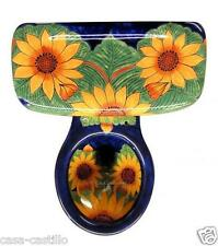 "Mexican Talavera Toilet Set Bathroom Handcrafted ""Girasoles"""