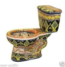 "Mexican Talavera Toilet Set Bathroom Handcrafted ""Sonora"""