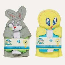 LOONEY TUNES WASH MITT & 3 WASH CLOTHS, Baby Shower, Tweety, Bugs Bunny