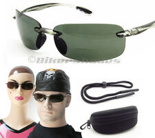 Premium POLARIZED BIFOCAL Sun Glasses Reading Smoke w Hard Case Sunglass Strap