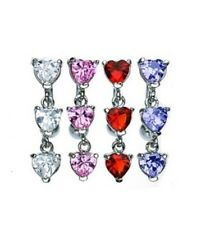 TOP DOWN GEM HEARTS BELLY NAVEL RING REVERSE CZ BUTTON PIERCING JEWELRY B33