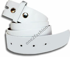 MENS WOMENS SNAP ON BELT WHITE WITHOUT BUCKLE FAUX LEATHER PVC/VINYL