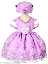 New Baby toddler Wedding Flower Girl National Pageant Formal Dress S-XL Purple