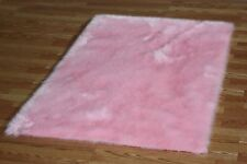 PINK FAUX FUR FLOKATI SHAG RUGS SOFTEST PLUSH FIBERS AND NON SLIP BACKING