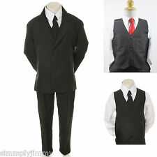 Boys Formal Black Tuxedo Vest Suit Set w/EXTRA Red tie 6-PC Suit size 8 10 12 14