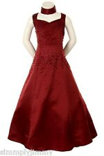 Girl Pageant Flowergirl Evening ball Formal Dress Burgundy size 6 8 10 12 14 16