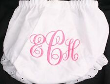 Personalized Monogrammed Diaper Cover Bloomer 3 Initial Fancy Script