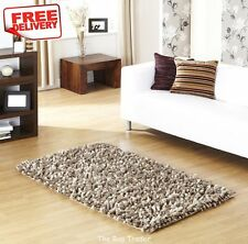 Rocky Thick Shaggy Wool Taupe Rug in Various Sizes