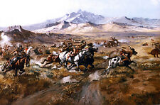 CM Russell Stage Coach Attack 1899 - Stretched Giclee Print Canvas