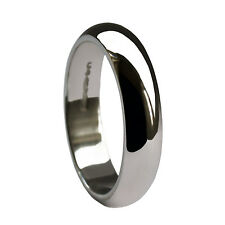 4mm 18ct White Gold Wedding Rings D Shape Heavy Profile Bands 750 HM 5.9 - 6.8g