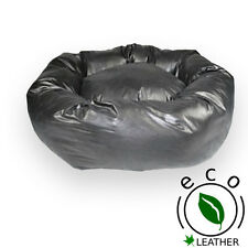 """Dog Bed, Donut Bed,Black Faux Leather ,38"""" Diameter, Extra Large"""