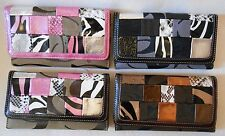 Cleto CC Brand ANIMAL PRINTS Patchwork Trifold Wallet w REMOVABLE CheckbookCover