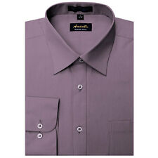 Mens Dress Shirt Plain Violet Modern Fit Wrinkle-Free Cotton Blend Amanti