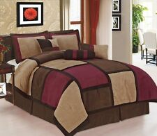 7 Piece  Burgundy & Brown Suede Patchwork King Size Comforter Set