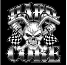 Hard Core Biker Chopper Motorcycle T Shirt with Skull and Flags
