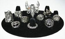 Assorted Silver Biker Goth Rings - Skull, Gothic, Death, Eagle, Dragon, Snake