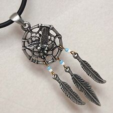 Aztec Dream Catcher eagle/Amulet W Hanging Feather Silver Pewter/Alloy Metal