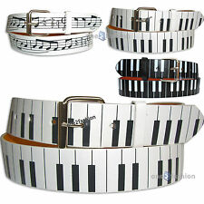 MENS WOMENS MUSIC NOTES SYMBOLS WHITE LEATHER LOOK SNAPON BELT&REMOVABLE BUCKLE