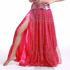 Shinning Sequins 2 layers 2 side slits Long Skirt Belly Dance 4colors