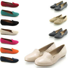 Ladies Flat Slip On Womens Slippers Work Loafers School Pumps Shoes Size 3-8