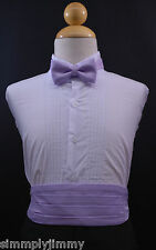 Infant Toddler Boy LILAC Cummerbund Cumberband + Bow tie Set Tuxedo Suit Sz S-28
