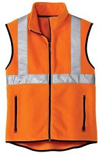 NEW Mens Size XS-4XL FLEECE Reflective Vest Safety Green Yellow Orange HIGH VIS