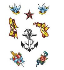 TEMPORARY TATTOOS PIRATE SAILOR Fancy Dress BIRTHDAY HALLOWEEN  COSTUME PARTY