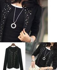 Long Sleeve Studded Rivets Decorative Open Cardigan Black Color Jacket UK S M L