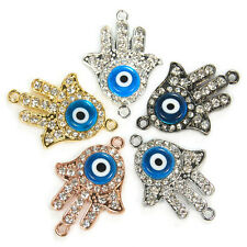 Side Ways Crystal Rhinestones Hamsa and Evil Eye Connector Charm Beads Pick