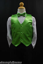 Children LIME GREEN VEST + BOW TIE /LONG NECK TIE Boy Suit & Tuxedo Sz S-28