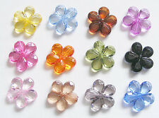 10 Transparent Faceted Acrylic Flower Beads - 20mm - Choose Colour