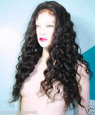 100% Indian Human Hair Remi Remy Full Lace Wig Wigs #1B High Quality Custom Made