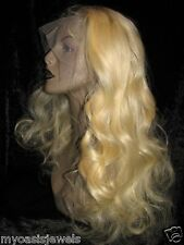 Premium Remi Remy Full Lace Wig Wigs Indian Human Hair Blonde Bodywave Wavy