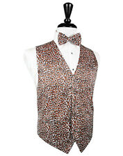 Mens Leopard Animal Print  Tuxedo Vest and Bowtie NWT ALL SIZES