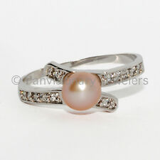 6mm Soft  Pink Fresh Water Pearl & CZ Wrap Ring .925 Sterling Silver Nickel-free