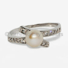 Pearl & CZ Wrap Ring 6mm White Fresh Water .925 Sterling Silver
